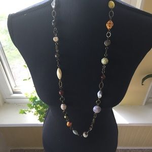 Various Stone Long Gold Necklace